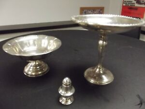 Sterling Silver Pedestal Compote Candy Dish Gorham 3 Pieces