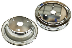 Chrome Triple Groove Lower Pulley For Swp Small Block Chevy Short Water Pump Gm