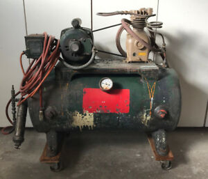 Vintage Air Compressor Leland 1 3hp Motor 25 Gallon Tank Montgomery Ward Pump