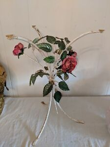 Gorgeous Vintage Italian Tole Floral Pink Roses Tables No Glass