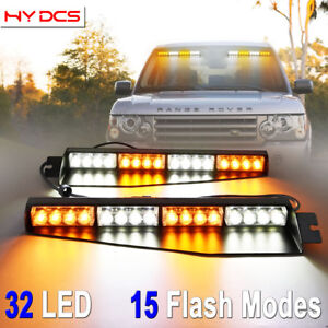 34 32 Led Strobe Lights Emergency Hazard Warning Visor Dash Bar Amber White Y