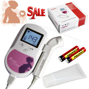 Usa contec Pocket Fetal Doppler 3mhz Lcd Prenatal Heart Rate Baby Monitor gel