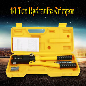 10t Hydraulic Wire Battery Cable Lug Terminal Crimper Crimping Tool 14 Dies New