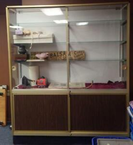 Large Retail Store Showcase Glass Shelves Locks Storage Great For Antique Shops