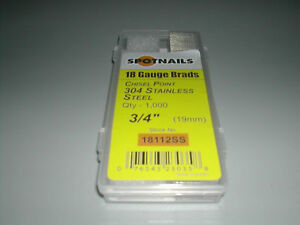 18 Gauge 3 4 Stainless Steel Brad Nails Spotnails 18112ss Finish Nails 8 000