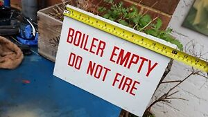 Vintage Old Boiler Enamel Sign Industrial Fire Safety