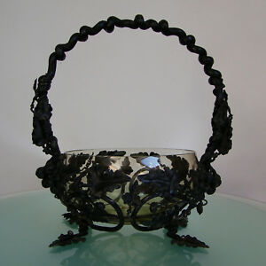 Gorgeous Antique 1930 French Art Deco Wrought Iron By Hand Basket Bowl Glass