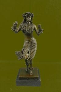 Vintage Style Bronze Metal Hawaiian Hula Dancer Skirt Statue Figurine Hot Cast