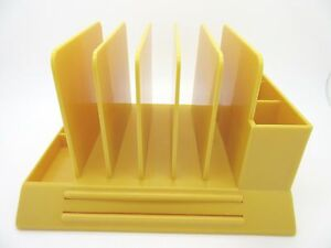 Vintage Max Klein Mcm Desk Organizer Holder Letter Office Yellow Gold Plastic