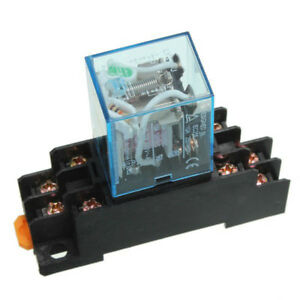 10 Set Coil Power Relay Ly2nj 12v Dc Dpdt 8 Pin Hh62p Jqx 13f With Socket Base