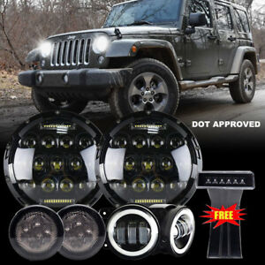 For 07 17 Jeep Wrangler Jk 7 Led Headlights Tail Rear Brake Turn Signal Reverse