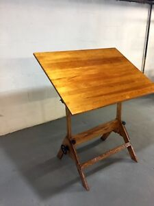 Vintage Drafting Table Top Cast Iron Oak Desk Adjustable Rustic Style Antique
