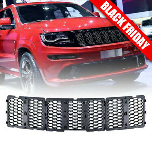 Matte Black Honeycomb Grille Grill Inserts Kit For 2014 2016 Jeep Grand Cherokee