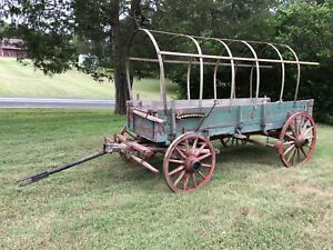 Antique Chuck Wagon Wooden Wheel Horse Drawn Wagon Rare To See In This Condition