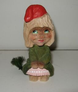 Cute Henning Hand Carved Girl Troll W Tail Norway