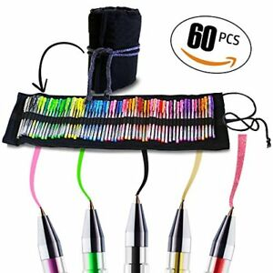 60 Gel Pens Set Multi colored Art Set Rainbow Coloring Pens With Glitter Pen In