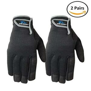 Wells Lamont Synthetic Leather Work Gloves High Dexterity Medium 2 Pair Pack