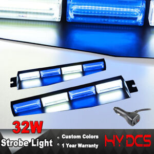 34 32w Cob Led Strobe Lights Emergency Warning Hazard Visor Dash Bar Blue White