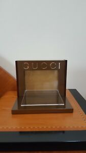 New Gucci Logo Display For Sunglasses Eyeglasses Color Brown gold Plexiglass