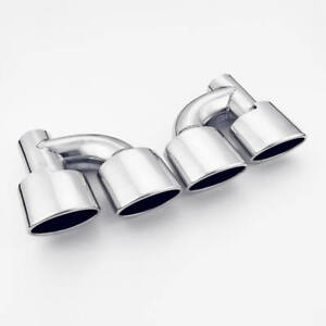 2 25 Inlet Dual Oval Outlet Staggered Exhaust Tips Slant Cut Stainless Steel