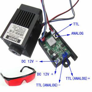 Focusable 2 5w 2500mw 450nm Blue Laser Module Ttl analog Signal Engraving Goggle