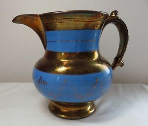 Antique Copper Lustre Luster And Blue Milk Jug 5 1 2 Inches