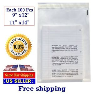 Poly Plastic Packaging Bags 200 Clear Combo With Suffocation Warning 9x12 11x14
