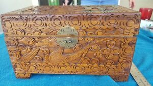 Antique Chinese Camphor Wood Carved Chest Box With Dragons Vintage Collectible