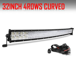 Quad Row 32inch 3808w Curved Led Light Bar Spot Flood Offroad Driving 4wd Atv 42