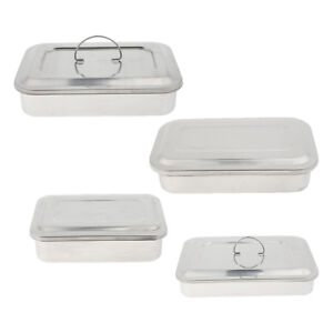 4pcs Stainless Surgical Instrument Box W Lid Medical Tool Needle Organizer