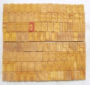 117 Piece Vintage Letterpress Wood Wooden Type Printing Blocks 32 M m bc 4075