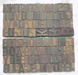 90 Piece Vintage Letterpress Wood Wooden Type Printing Blocks 30 M m bc 4089