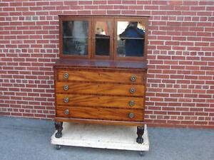 19th Century Mahogany Empire Desk Secretary Chest Dresser
