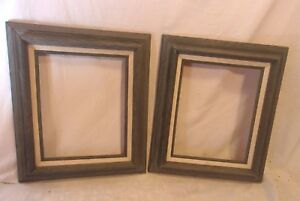Pair Of Mid Century Pickled Wood Frame 12 1 4 X 14 1 4 Holds 8x10 Molding 2 1 2