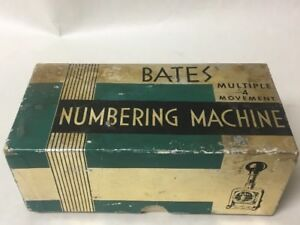 Vtg Bates Multiple 4 Movement Numbering Machine W Box Bakelite