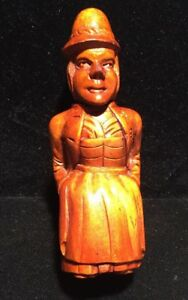 Early 19th Century Carved Wood Figural Lady In Ethnic Dress Needle Case