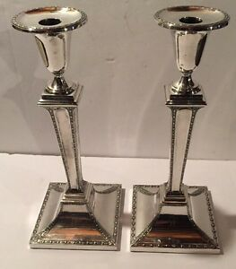 Stunning Pair Antique English Silver Plated Candlesticks C 1880