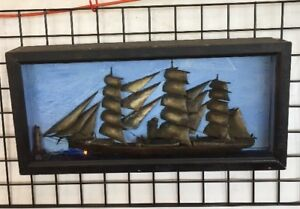 Antique Ship Model In A Shadow Box