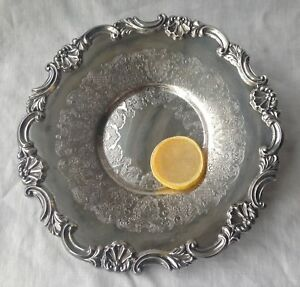 Platter Silver Plate Sheffield Reproduction Round Ornate Border Shell Motif 10