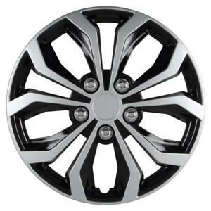 Universal Fit Spyder Black silver Finish 15 Inch Wheel Covers Set Of 4
