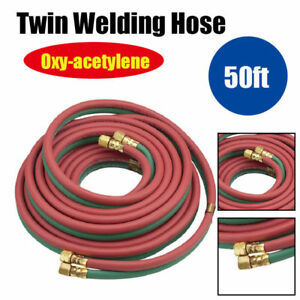 1 4 20ft 50ft Twin Welding Torch Hose Oxy Acetylene Oxygen Cutting Heavy Duty