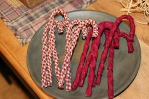 Primitive Rag Wrapped Homespun Candy Canes Christmas Ornaments Set Of 12
