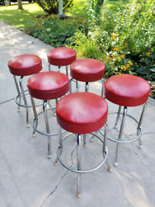 Vintage 1950 S Red Swivel Bar Stool Royalchrome Royal Metal Mfg Fifties Diner