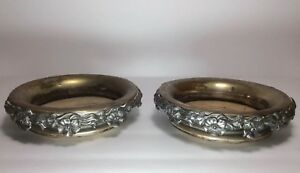 Silver Plate Wood Champagne Wine Coasters Set Of 2