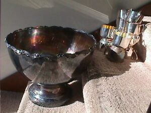 Sheridan Vintage Silver Plate 13 1 2 In Footed Punch Bowl 12 Cups No Monogram