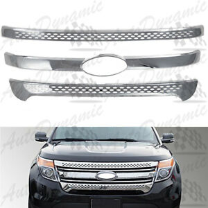 For 2011 2015 Ford Explorer 3pc Chrome Tape Over Front Grille Overlays 12 13 14