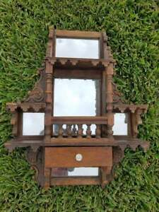 Antique Vintage Wall Stand Mirror With Glass Handle Drawer 20 5x5x27 5 Rare