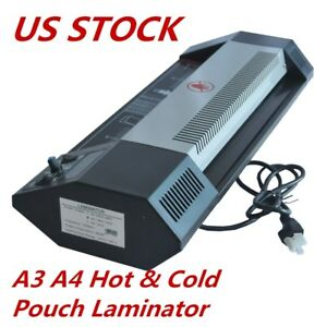 Us 110v Steel Thermal Laminator A3 A4 Hot cold Machine Roller Pouch Photo Office