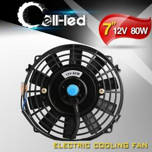 Universal 7 In Electric Cooling Slim Fan 1350cfm Radiator Thermostat Push Pull