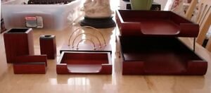 6 Pc Wooden Desk Set Double Tray Mail Paperclip Pen Pencil Business Card Holder